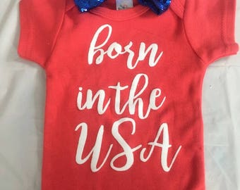 Sale  Born in the USA bodysuit, Patriotic 0-3 months,  Military,  bodysuit, headband