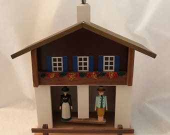 Handmade Wood Weather House Wetterhaus Germany Erzgebirge Collectible Wood Wall Decor 109/12