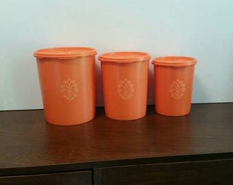 Orange Tupperware Canisters - Set of 3