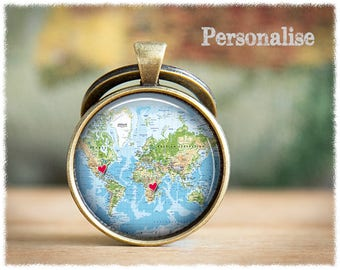 Long Distance Friendship • Best Friend Gift • Personalised Keyring • Custom Map Keychain • World Map Keyring