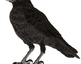 "Raven - American Black Crow - (LEFT) Embroidered Iron On Patch - 3 7/8""H (9.8cm)"