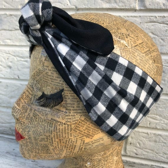 Black/white Check Gingham Headscarf Rockabilly Rockabella 1950's Inspired