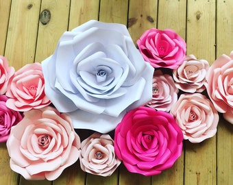 Handmade 3D Blooming Roses Paper Flowers Various Colors