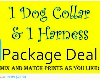 Sale - 40% Off 1 Dog Collar & 1 Harness Package - Dog Harness Set - Dog Collar Set