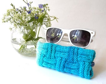 Set of 2. Turquoise and Whiter Glasses Case and Coffee Cup Cozy. Wonderful Gift For You