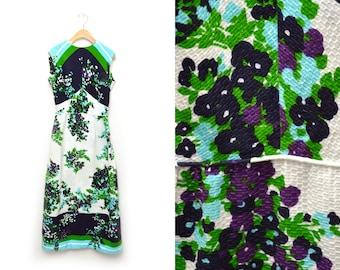 70s Floral Patterned Sleeveless Dress Maxi Full Length Womens Medium
