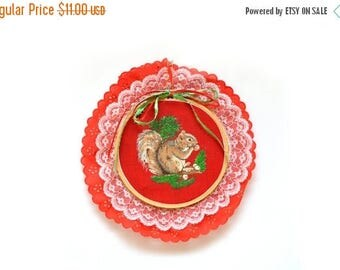 ON SALE 80s Handmade Squirrel Embroidery Hoop Ornament Red Kitsch