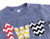 mouse Birthday shirt red yellow black chevron on triblend heathered grey tshirt 2 year old 2nd Birthday turning two cake party favors