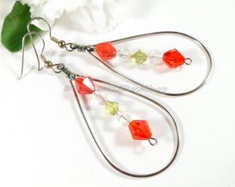 Swarovski Crystal Christmas Earrings, Crystal Earrings, Swarovski Earrings, Holiday Earrings, Womens Teardrop Earrings Christmas Jewelry