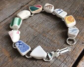 Sea pottery Bracelet, sea china bracelet, Sea Pottery jewelry, Beach Pottery Bracelet, Broken China Jewelry, sea china Bracelet