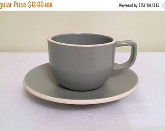 17% OFF SALE Sasaki Mat Gray Cup With Saucer/Colorstone Cup by Vignelli Designs/ Gloss Finish/ Made in Japan/ Dishwasher & Microwave Safe/ M