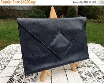 Save 15% OFF Black Navy Clutch/David Mehler Purse/DAME Envelope Purse/Leather Clutch/Snap Closure/Minimalist Handbag/11 x 7 x .25/Classic Le