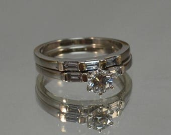 DEADsy LAST GASP SALE White Gold Diamond Wedding Set  // 14K White Gold Engagement Ring Half Carat Wedding Set Vintage