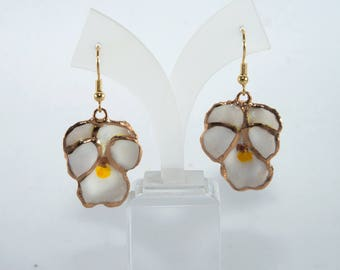 Birthday jewelry for woman, Pansy earrings, Real pansy earrings, White Pansy earrings, White and Gold Pansies earrings, Pansy dangle earring