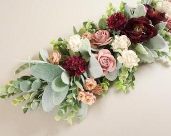 Floral Centerpiece, Table Decor, Flower Arrangement, Summer Wedding, Wedding Flowers, Dusty Pink Flowers, Short Centerpiece, Table Swag