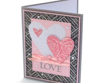 Pink hearts blank card, Love, anniversary card, romantic greeting card