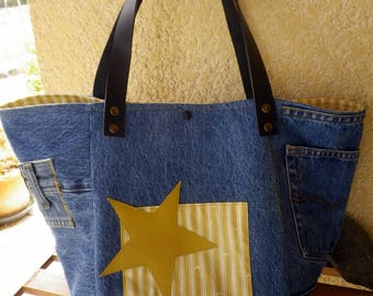 Recycled and washed denim bag/tote.