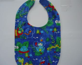 Whimisical Insect Print Bib.  Blue background.  Ready to Ship