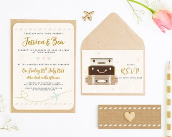 Travel Collection – Pastel Plane & Suitcases Wedding Invitation Bundle