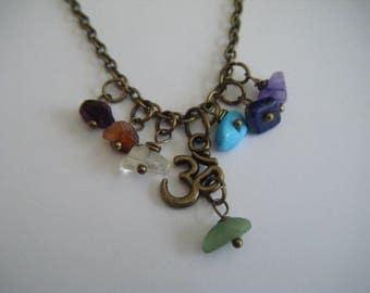 Spiritual Inspirational Healing Chakra Beads OM Choker Necklace Yoga Meditation Wellness Oneness Cosmic Gemstone Crystals Buddha Eco Beads