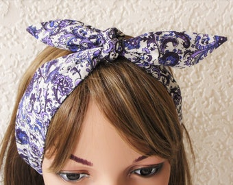 Headband, floral headscarf, pin up style hair scarf, 50s style hair tie, rockabilly headband, hair care accessory, polycotton