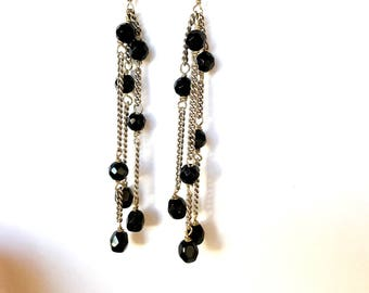 Black onyx and Sterling Silver Chandalier Earrings. Black onyx Earring, black chandalier earring