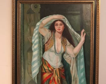 Vtg Orientalist Large Oil Painting  Girl with veil PERSONAL