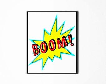 Boom! Explosion Fun Printable Art, Playroom Print, Art for Kids, Children's/Kids' Digital Print
