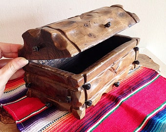 Vintage Small Wooden Pirate Chest for All Ye Treasures