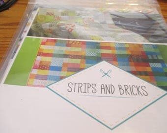 """Paper Pattern for a quilt called Strips and Bricks designed by Malka Dubrawsky for A Stitch in Dye 34"""" x 51"""""""