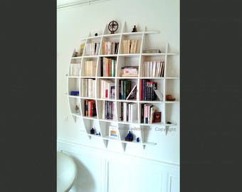 Bookcase design with round invisible fixings