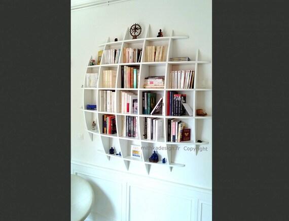 Biblioth que murale design fixations invisibles ronde - Bibliotheque murale suspendue ...