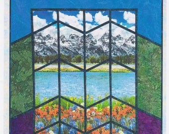 Mountain Scenic View, Lisa Moore, Quilts with a Twist, DIY Lap Quilt Panel Pattern