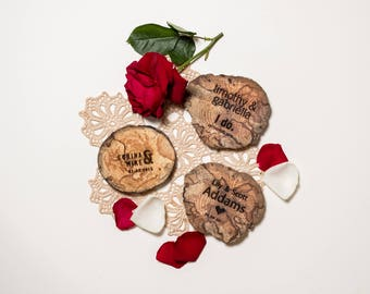 25 Wedding Favours - Driftwood - Wood Coasters - Engraved - Wood Slice - Sustainable Gift - Eco Houseware