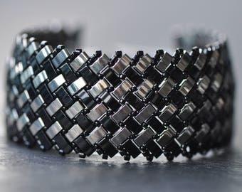 Silver and black, Herringbone stitch, Half Tila Bracelet, Miyuki beads, Handstitched cuff