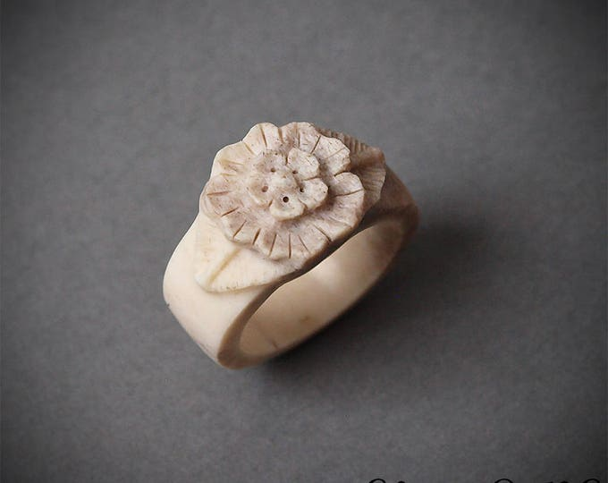 Featured listing image: Size 8 US, Flower ring, Antler ring, Antler jewelry, Bone ring, Bone jewelry, Bone carving, Antler flower, Deer antler, Engagement ring