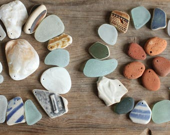 beach pottery seapottery sea shells seashells sea glass seaglass top drilled craft supplies jewelry supply jewellery (lt655)