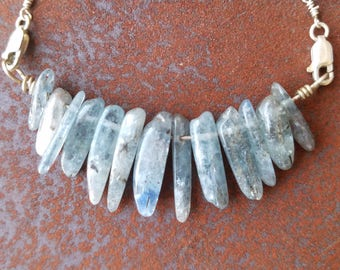 Kyanite sterling silver blue crystal necklace