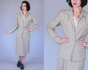 1940s Forte suit | vintage 40s aqua and brown striped cream wool skirt suit | small