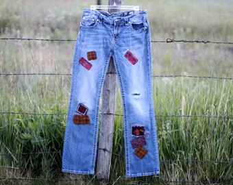 Miss Me Jeans Upcycled Patched Tattered Torn Embellished  Boro Stitiched Denim Chambray Pants Size 32