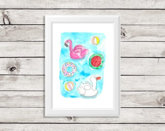 pool float art print - pool float art - pool float painting - flamingo pool float - swan pool float - pool floats - fun pool floats