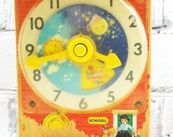 ON SALE Fisher Price Wooden Teaching Clock. Circa 1960's.  Childhood Memories. Vintage Nursery. Old School Toys. Simpler Times.