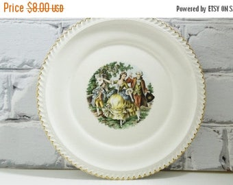 ON SALE French Courting Scene Dinner Plate. 22 Kt Gold Gilding. French Country Home. Transferware. Collectible Plates. Romantic Decor.