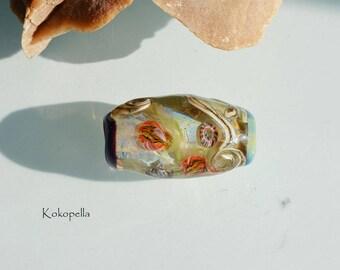 Lampwork beads - glass bead Ocean terrarium, underwater world, artist Focal bead - single bead, design by Kokopelle