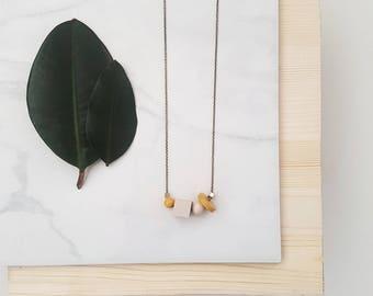 Mae Necklace   Petite Geometric beads   Beige & Merigold