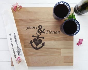 Personalized cutting board - anchor with heart