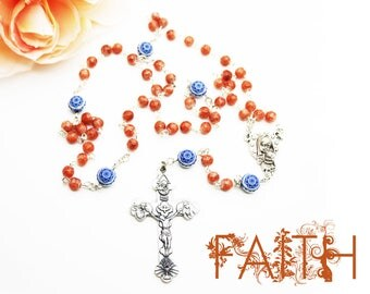 Contemporary Handmade Rosary--Vintage Beads--Spiritual--Catholic--Baptism--Boho--Prayer--Orange/Indigo--Confirmation--Inspirational--Faith