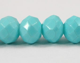 "Light Blue Crystal Beads 6x4mm (4x6mm) Painted Opaque Crystal Rondelle Beads, Chinese Crystal Glass Beads on a n 8 1/2"" Strand with 50 Beads"