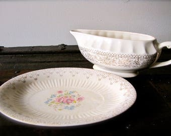 Lovely Vintage Gravy Boat and Tray Cottage Decor