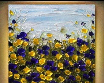 SALE Original  Modern  Heavy  Impasto Purple  Yellow Flowers   Acrylic Palette Knife Landscape  Floral  Painting.  Made2Order.